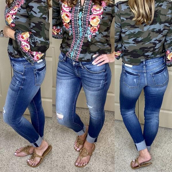 KanCan Low Rise Hem Detail Ankle Skinny Jeans