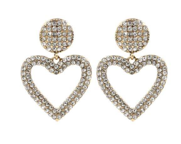 Chrystal Dangle Heart Earrings - GOLD