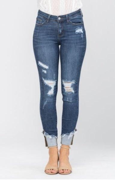 Judy Blue Asymmetrical Cuff Hem Distressed Skinny Denim