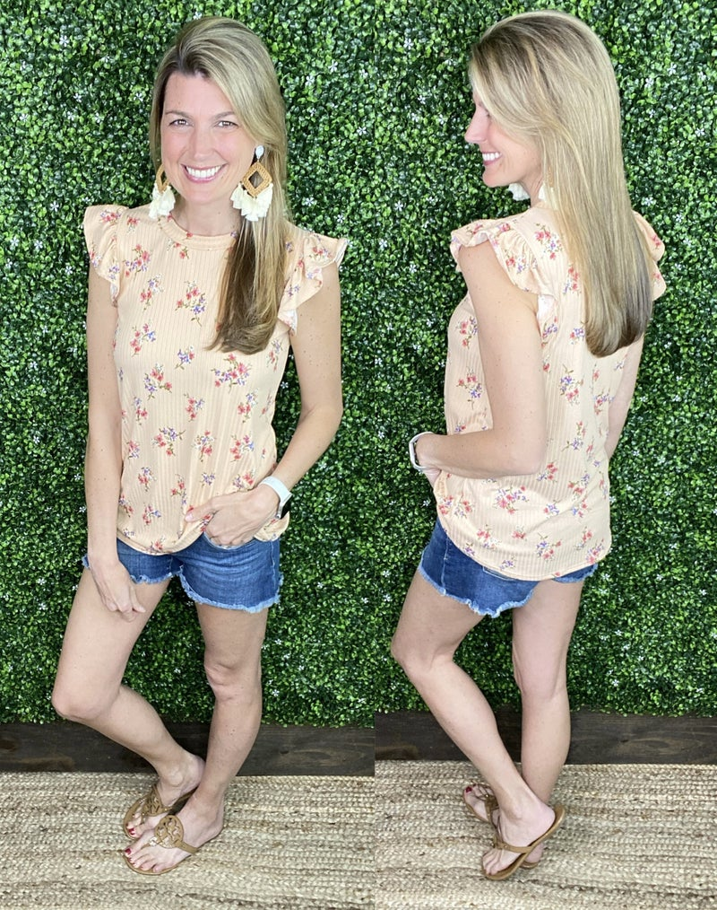 Camille Ruffle Sleeve Floral Tank