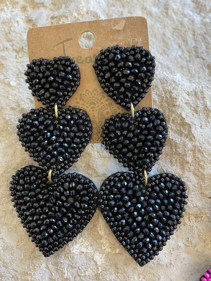 Triple Threat Beaded Heart Earrings - LIMITED!
