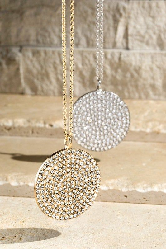 On The Way Pave Crystal Round Disc Necklace