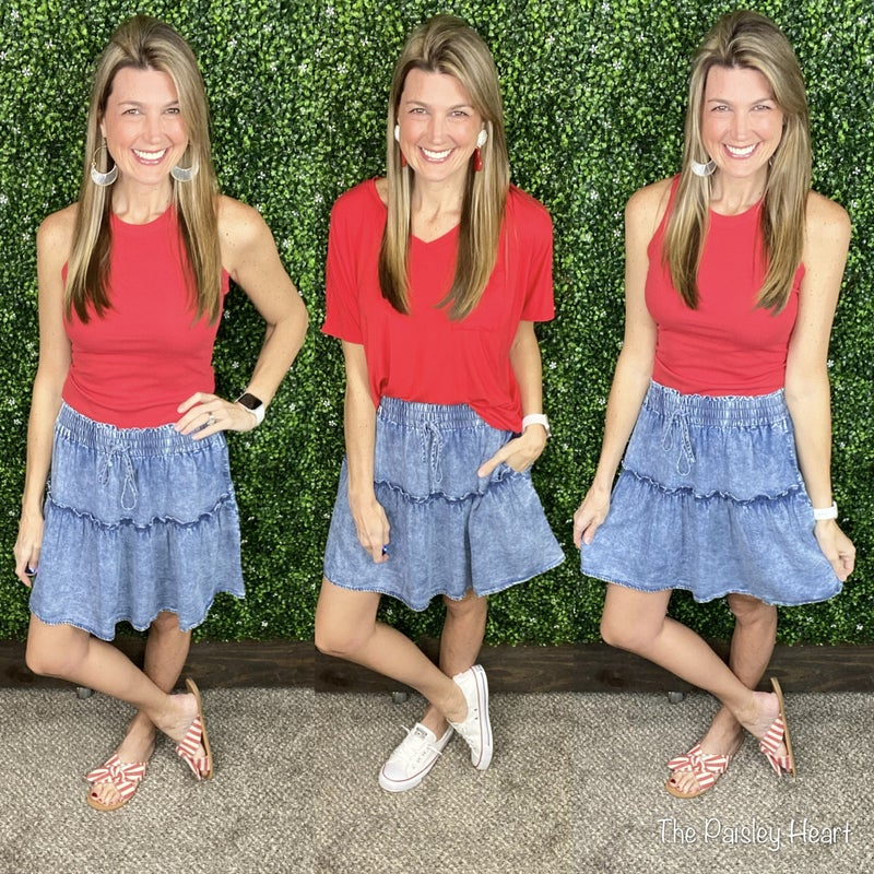Sweeter In Chambray Skirt
