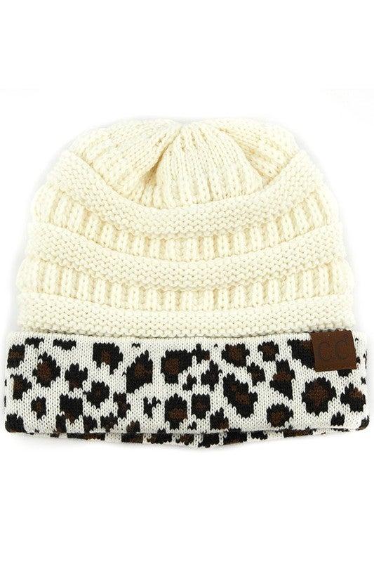 Leopard Cuffed CC Cable Knit Beanie