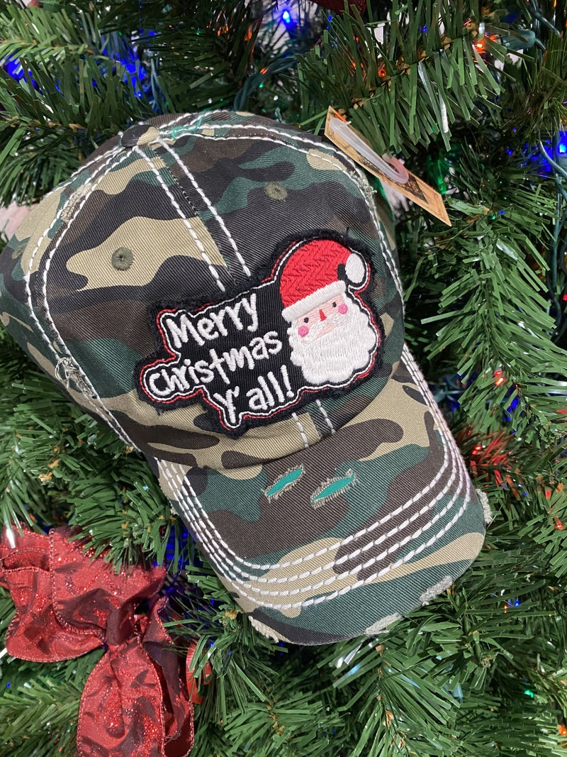 Merry Christmas Y'all Washed Vintage Baseball Cap