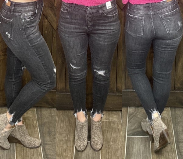 Judy Blue Distressed Button Fly Black Skinnies
