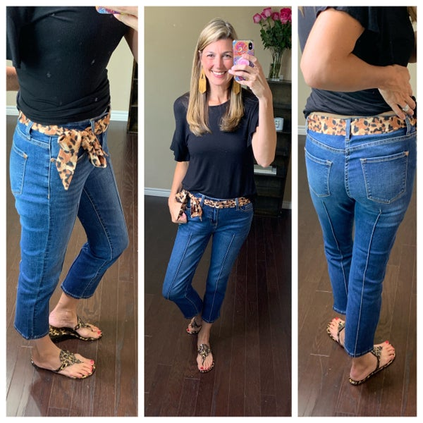 Detailed Cropped Denim With Cheetah Scarf Belt