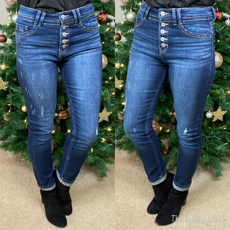 KanCan Button Fly Skinny Straight Jeans
