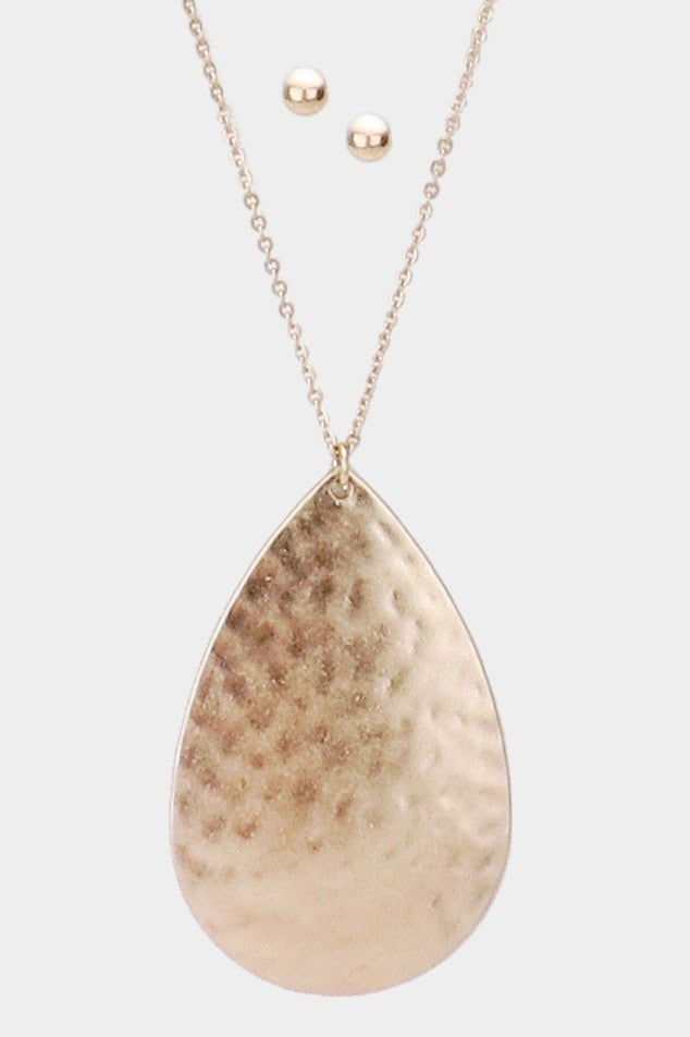 Teardrop Hammered Metal Pendant