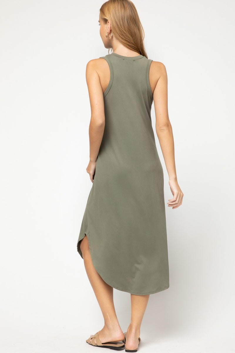 Solid V Neck Sleeveless Midi