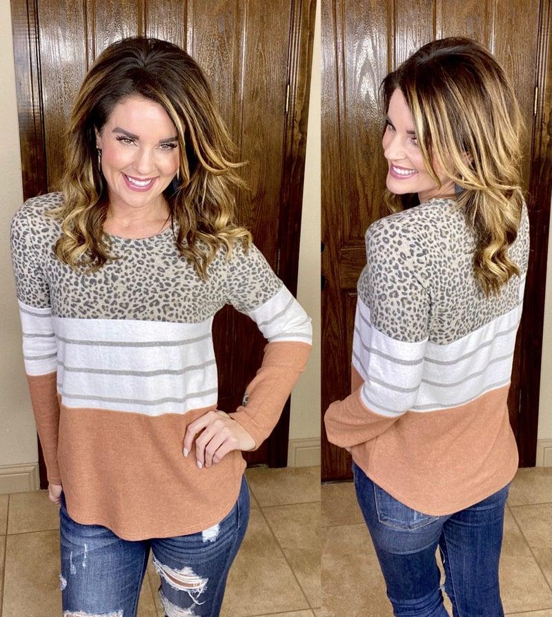 Estelle Leopard Colorblock Top