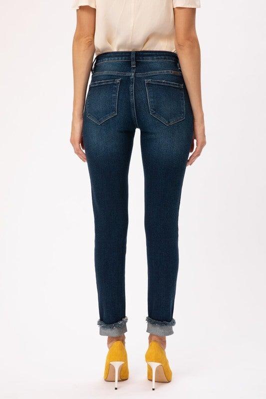 KanCan Mid Rise Hem Detail Ankle Skinny Jeans