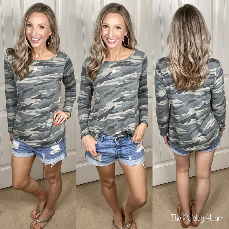 French Terry Camo LS Pullover Top