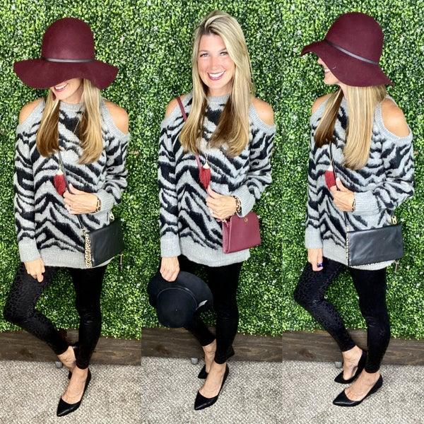 Zesty Zebra Cold Shoulder Sweater