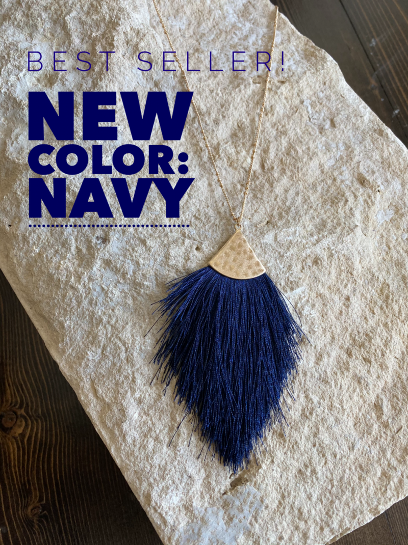Hammered Threaded Tassel Necklace - NEW NAVY!