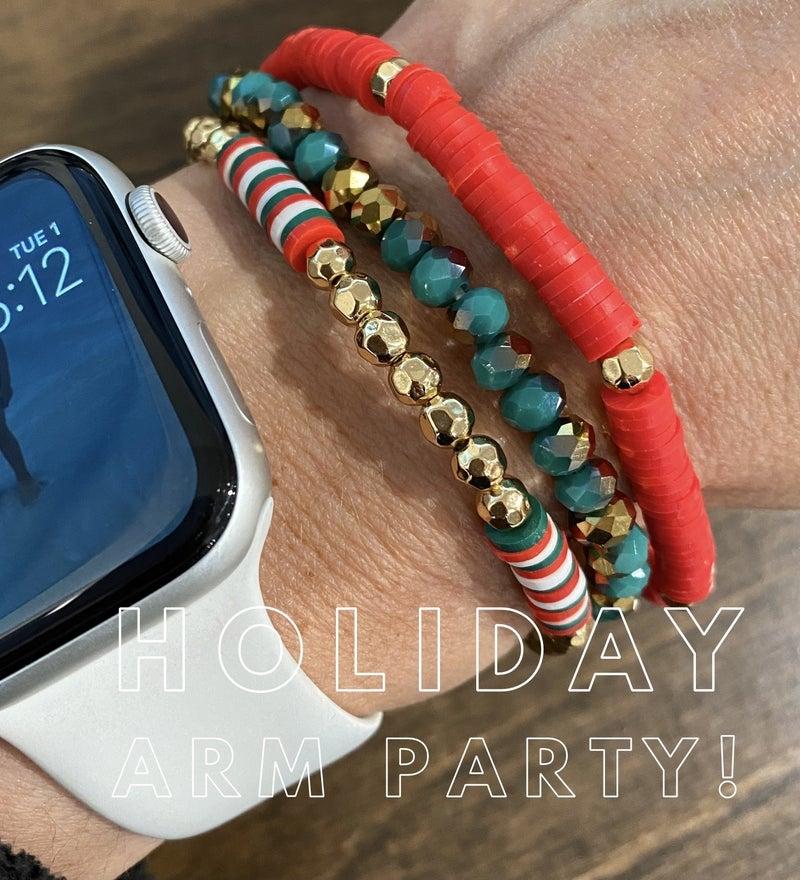 Disc Beaded Stretch 3 Piece Holiday Bracelet Set