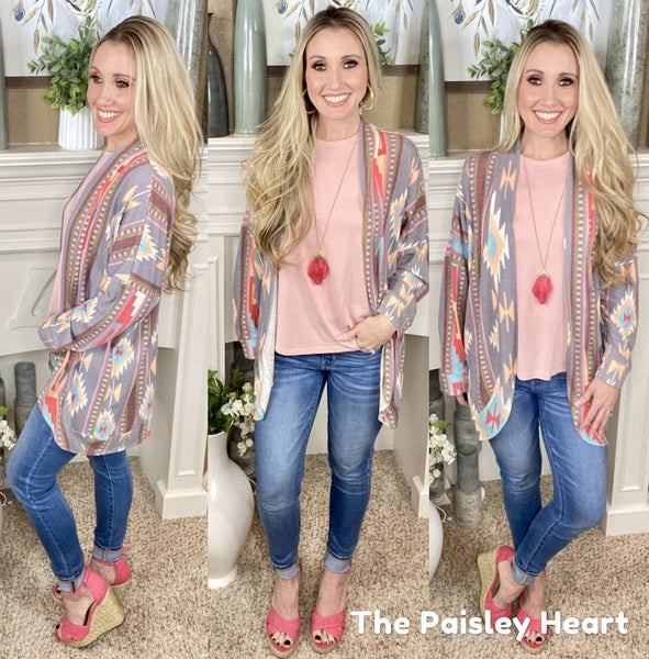 Taos in Spring Lightweight Open Front Cardigan