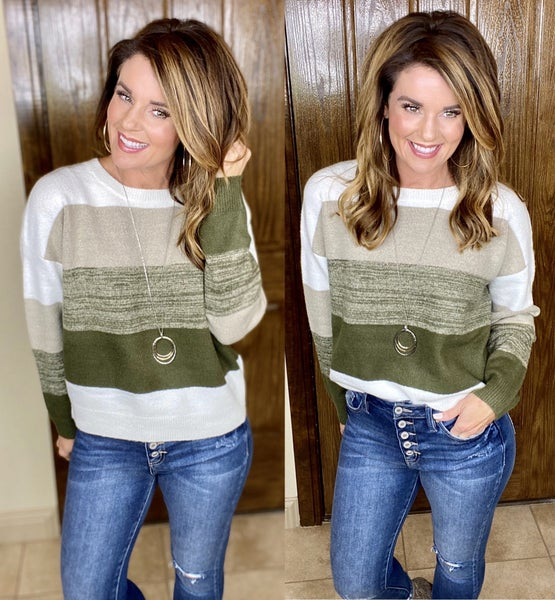 Voyager Olive Colorblock Sweater