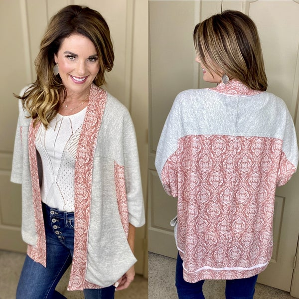 Edgy Contrasts Open Front Cardigan with Pockets