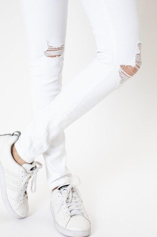 Kan Can Mid Rise Skinny- White Denim