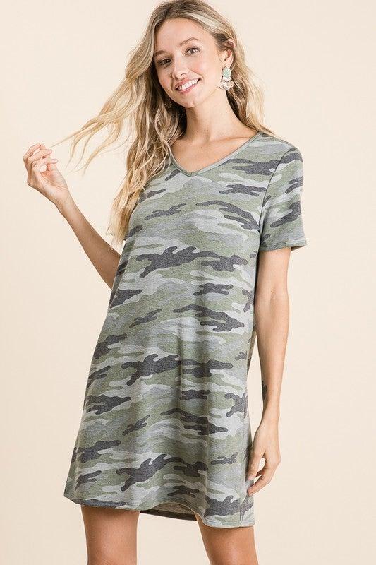 Finding Comfort Camo Jersey Soft Dress