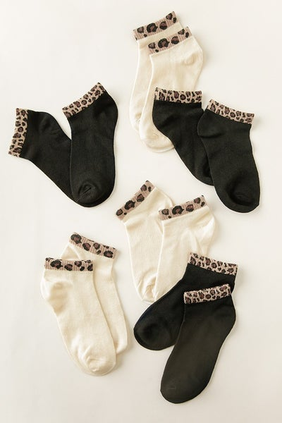 Animal Trimmed Ankle Socks