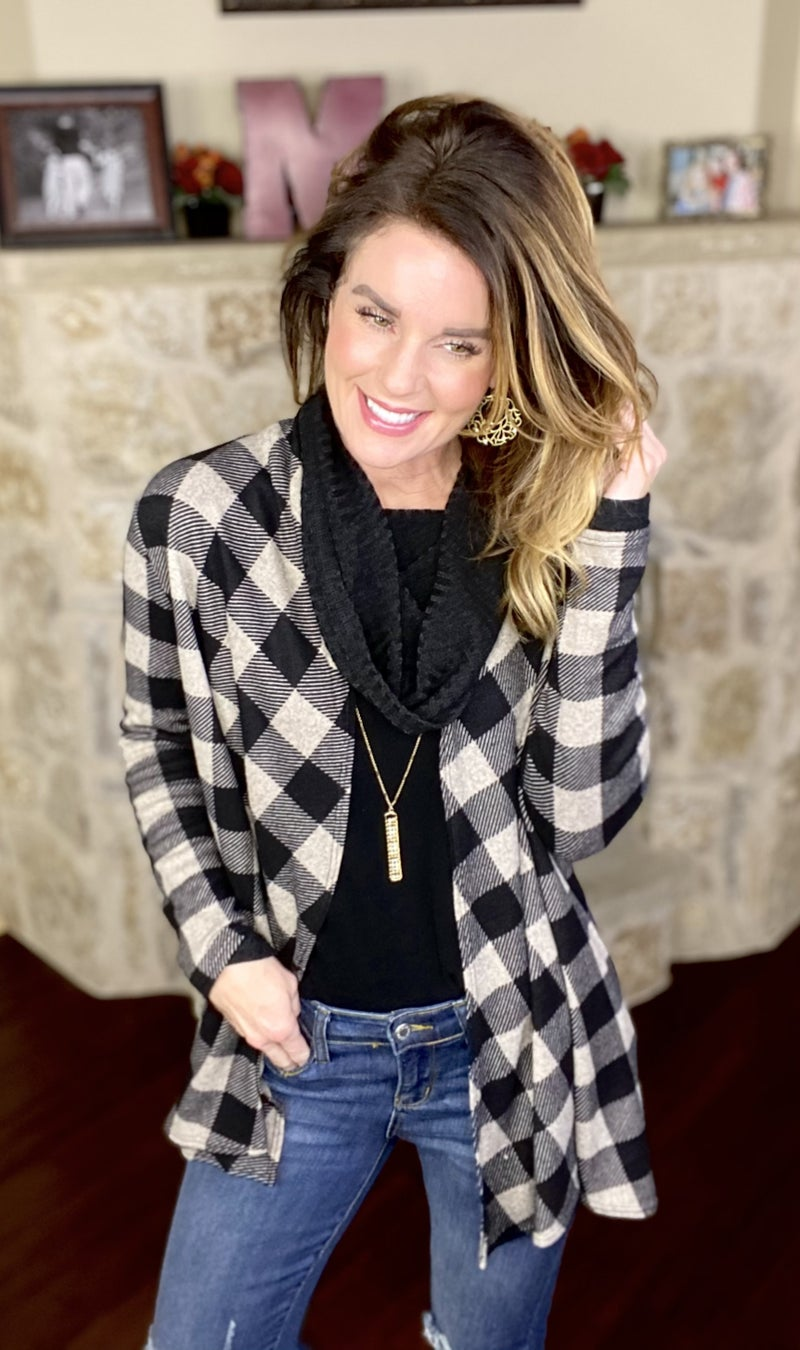 Always Falling for Plaid Open Front Cardigan