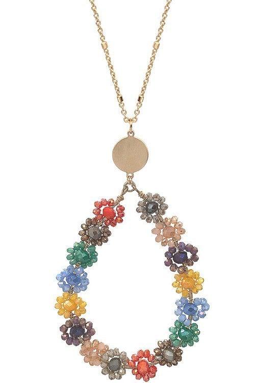 Blandi Teardrop Glass Bead Floral Pendant Necklace