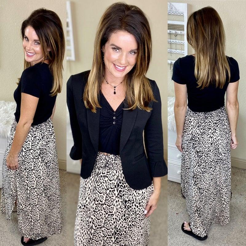 Animal Print Elastic Waist Side Slit Maxi Skirt