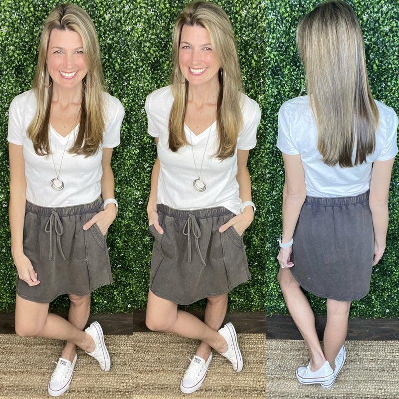 Mineral Washed Elasticized Skirt