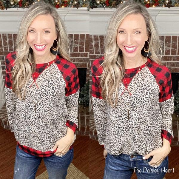 Lea Leopard Holiday Raglan