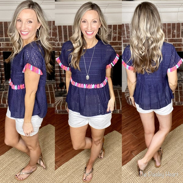 Summer Tassel Eyelet Top