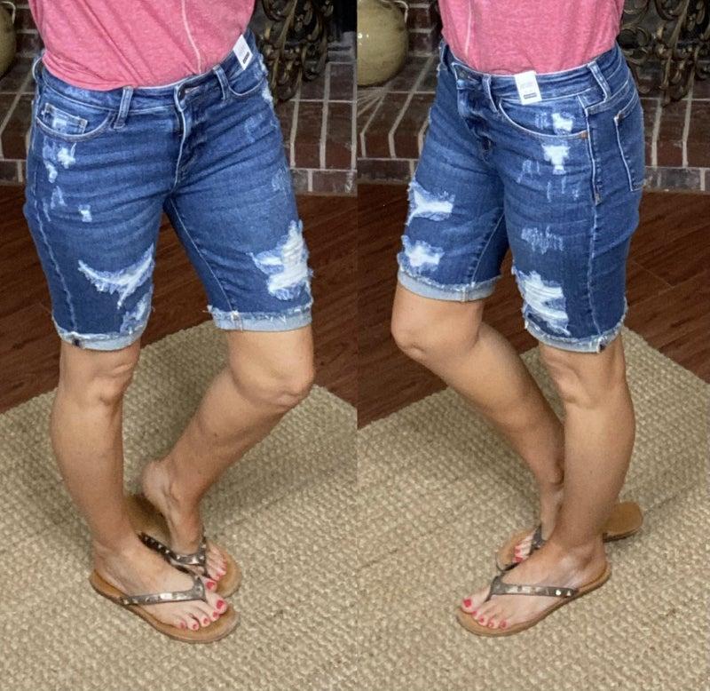 Judy Blue Distressed Bermuda Shorts