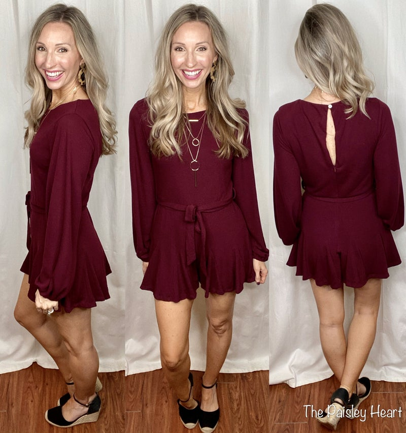 Solid Statement Long Sleeve Romper