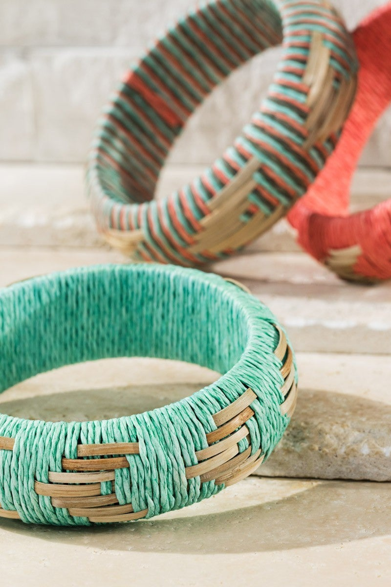 Raffia Woven Bangle Bracelet