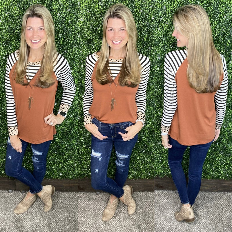 Finding Your Way Contrasting Raglan Tunic