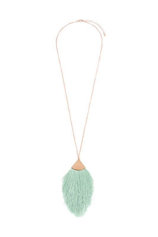 Hammered Threaded Tassel Necklace