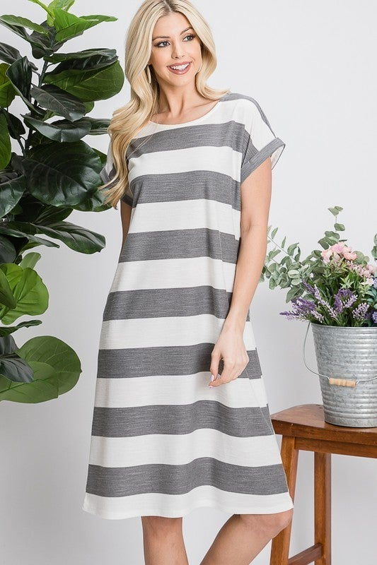 Madeline Striped Dress - Short Sleeves