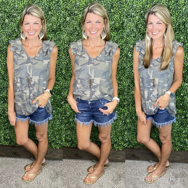 Cuter in Camo Ruffled Tank