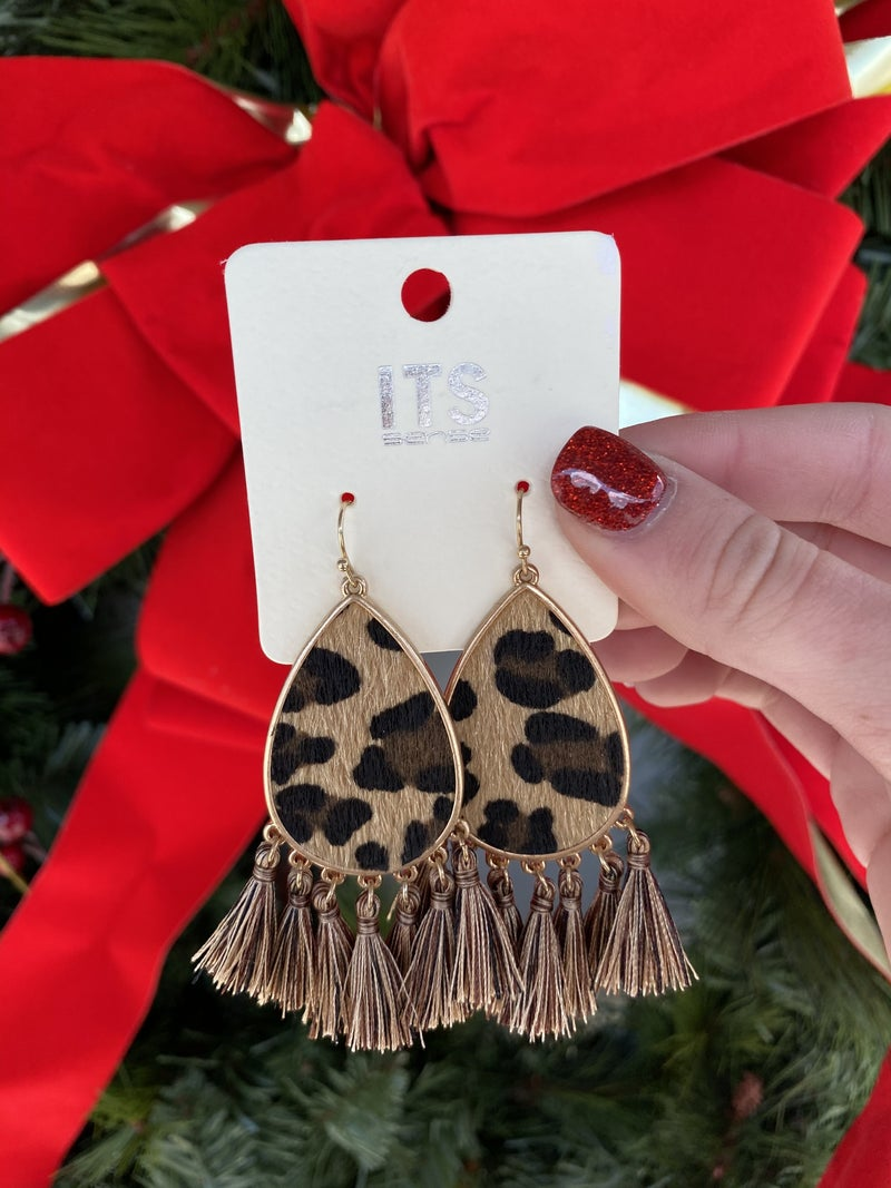 Lavish Leopard Tassel Earrings