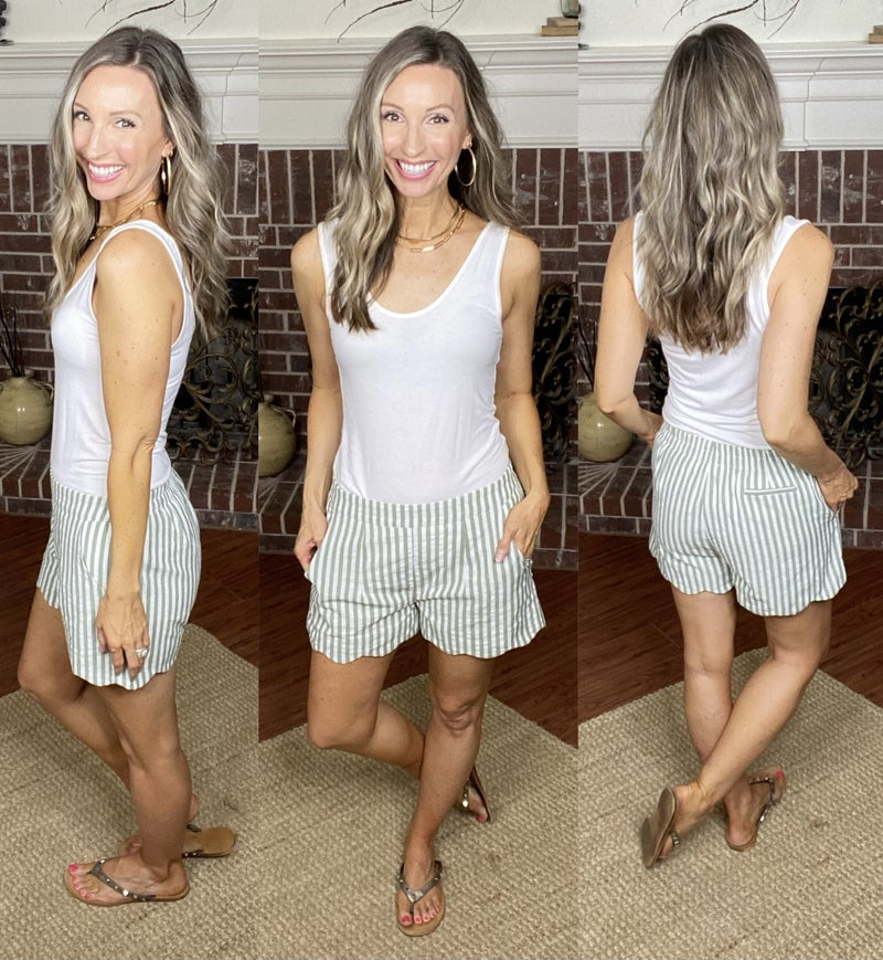 Timeless Stripes Scalloped Shorts