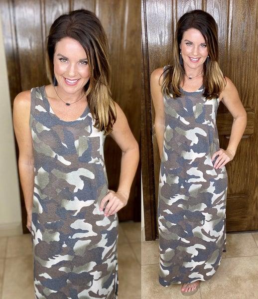 Camo Print Maxi Tank Dress