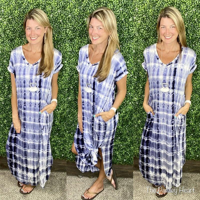 Blakely Tie Dye V-Neck Maxi Dress