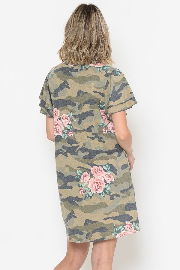 Prettier Side of Camo Shifter Ruffled Sleeve Dress