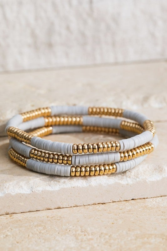 3 Piece Bead & Disc Bracelet Set