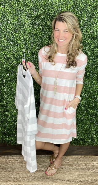 Madeline Striped Dress - 3/4 sleeves