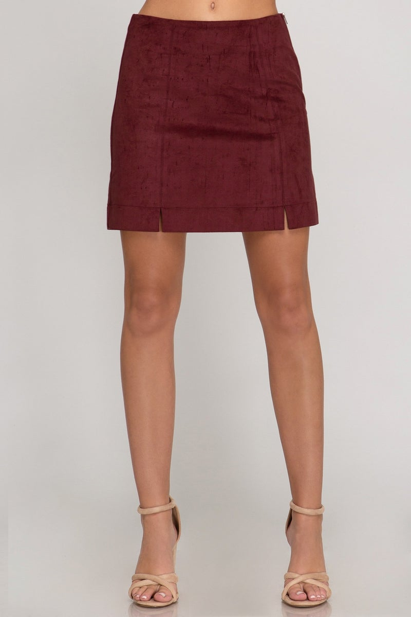 Faux Suede Mini Skirt with Zipper