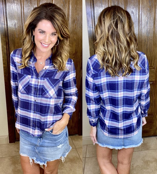 Blue Plaid Button Up Top