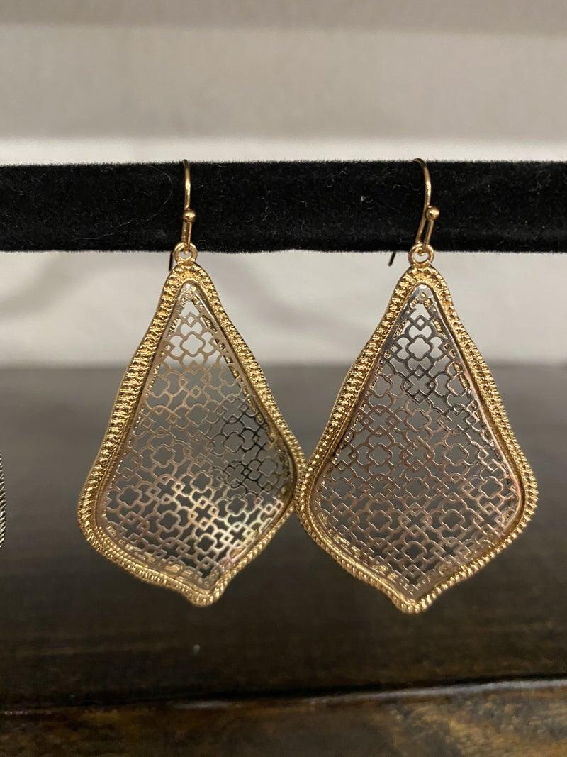 Two Toned Filigree Earrings