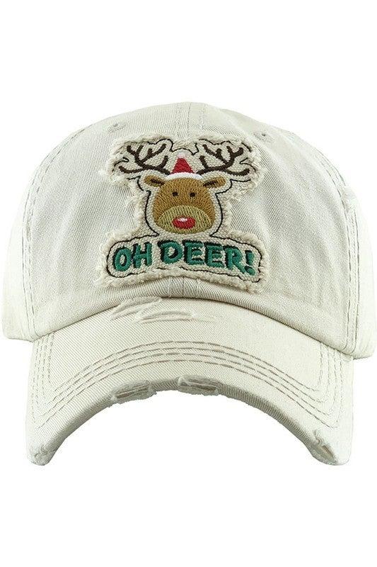 Oh Deer Washed Vintage Baseball Cap